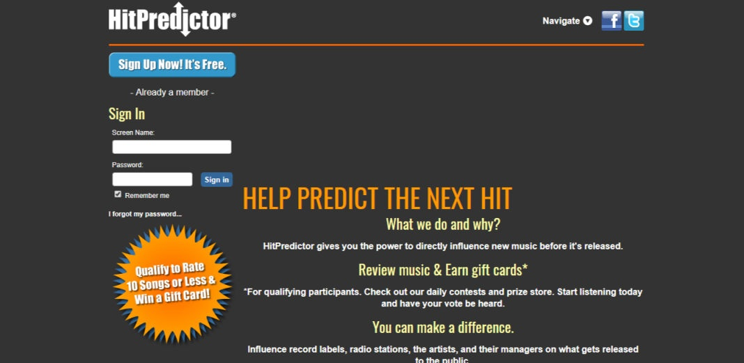 Hit Predictor Survey site