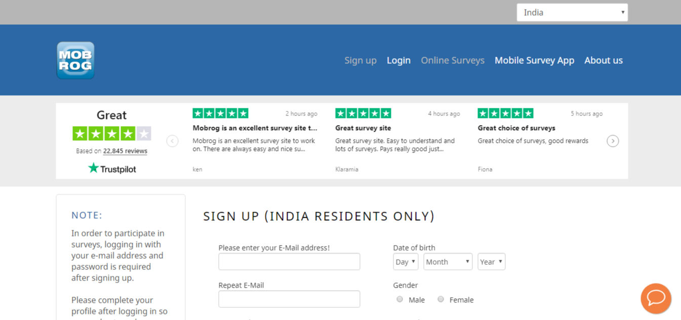 paying survey sites in India