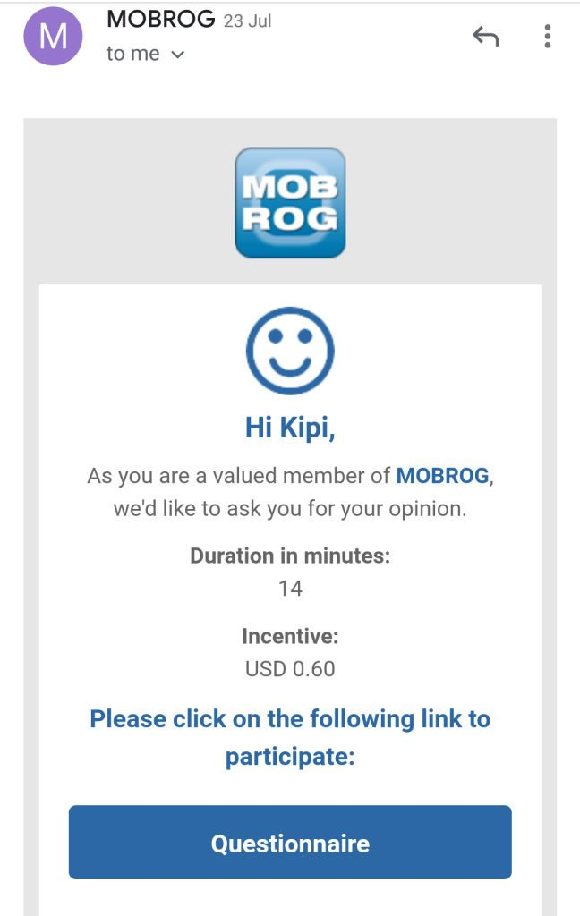 Mobrog survey site email invite