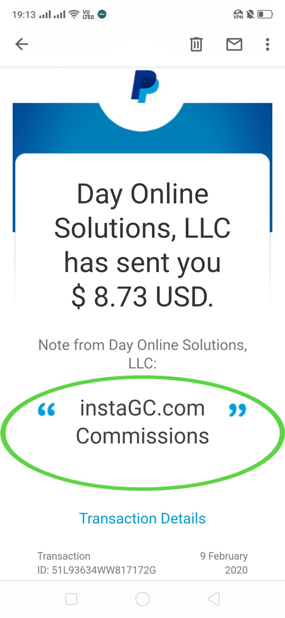 InstaGC PayPal Payment. InstaGC takes just