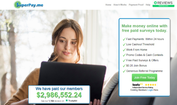 Superpay.me is one of the highest rated instant paid survey sites in TrustPilot.