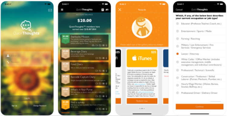 Survey apps for gift cards.